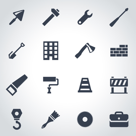 industrial construction: Vector black construction icon set on grey background