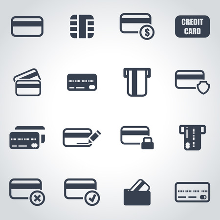 card: Vector black credit card icon set on grey background