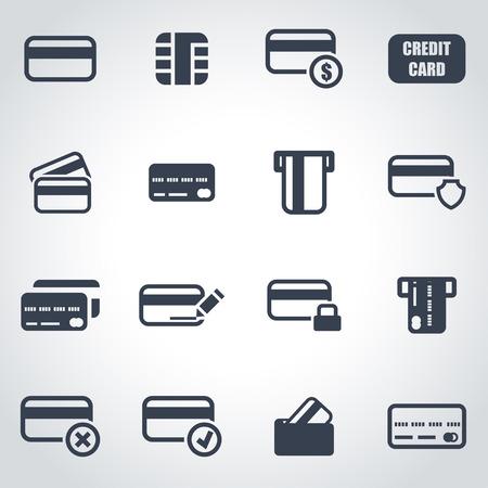 tarjeta de credito: Vector icono de la tarjeta de cr�dito negro situado en el fondo gris Vectores