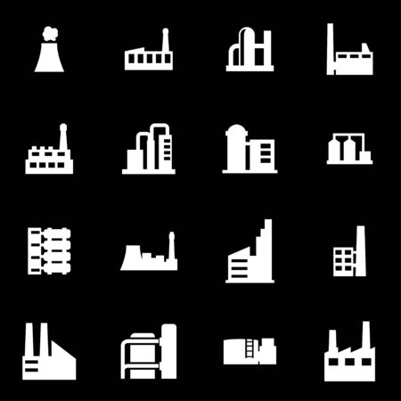 factory: Vector white factory icon set on black background Illustration