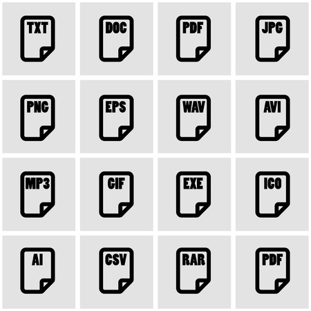 file type: Vector black file type icon set on grey background