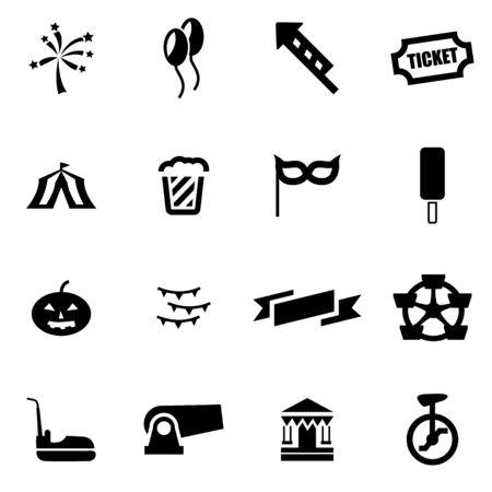 carnival: Vector black carnival icon set on white background