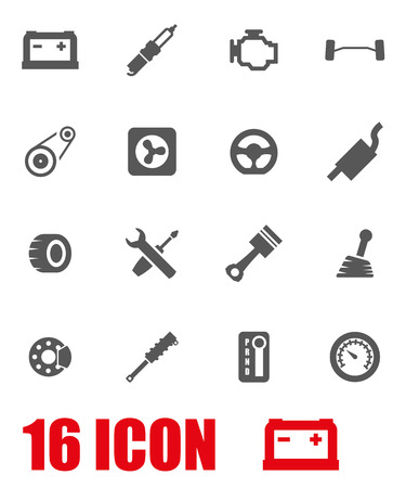Vector grey car parts icon set on white background