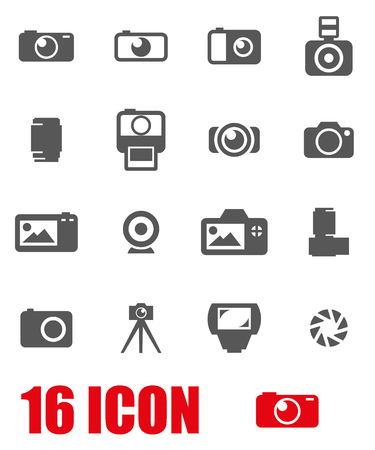 camera: Vector black camera icon set on white background
