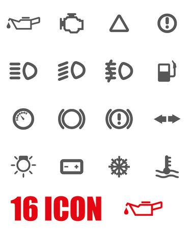 dashboard: Vector grey car dashboard icon set on white background Illustration