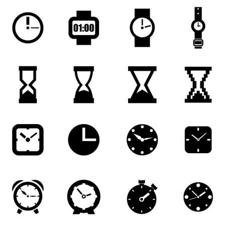 clock: Vector black clock icon set on white background