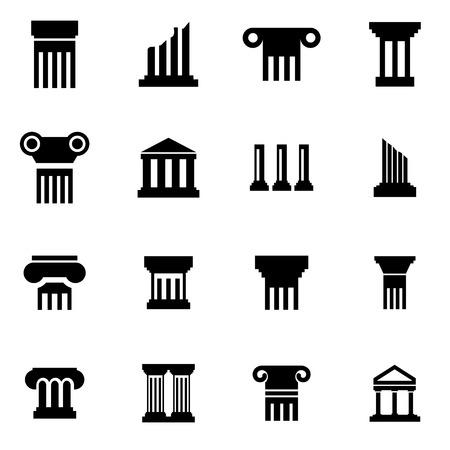 museum: Vector black column icon set on white background