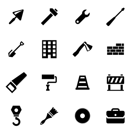 construction tools: Vector black construction icon set on white background Illustration