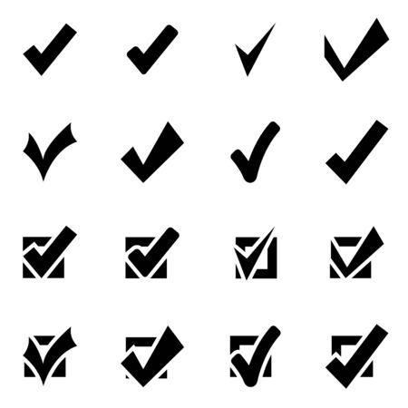 roman column: Vector black confirm icon set on white background