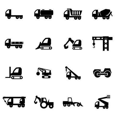 motor transport: Vector black construction transport icon set on white background