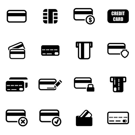 Vector black credit card icon set on white background Vettoriali