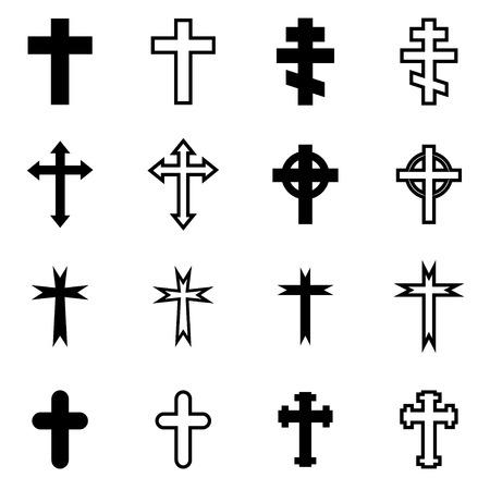 cruz roja: Vector cruces negras conjunto de iconos en el fondo blanco