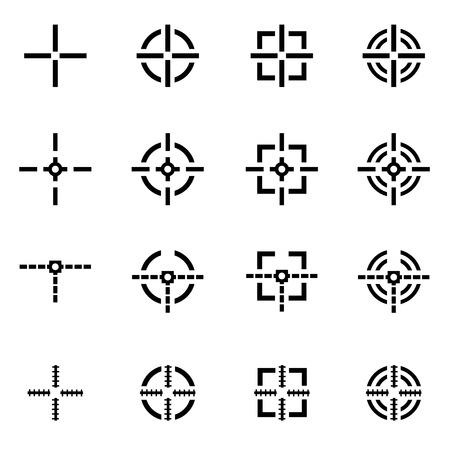 game gun: Vector black crosshair icon set on white background
