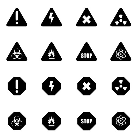 dangerous: Vector black danger icon set on white background Illustration