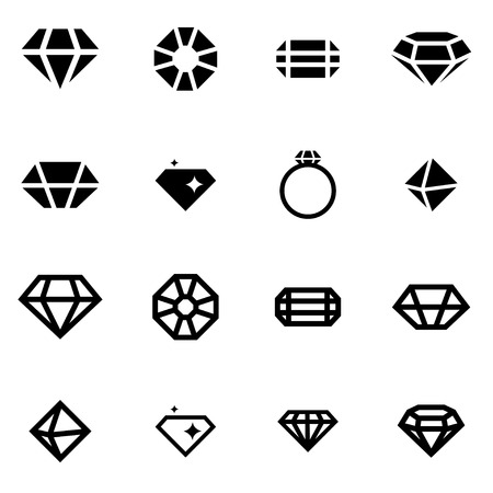 diamonds: Vector black diamond icon set on white background