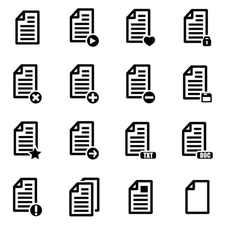 documents: Vector black documents  icon set on white background