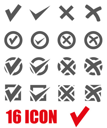 Vector grey check marks icon set on white background Illustration