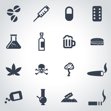 droga: Vector drogas negras conjunto de iconos sobre fondo gris