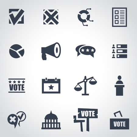 presidential election: Vector black education icon set on grey background