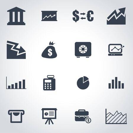 crisis: Vector black economic  icon set on grey background