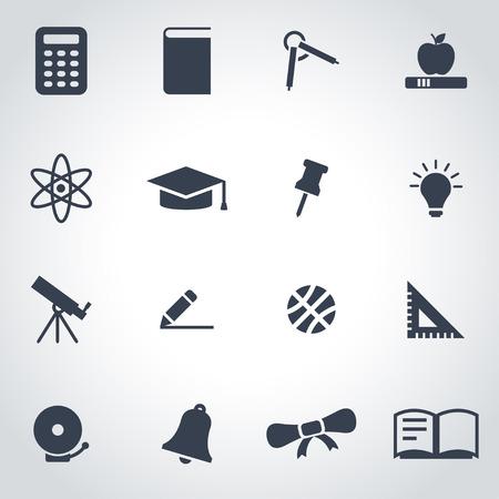 onderwijs: Vector zwart onderwijs pictogram set op een grijze achtergrond