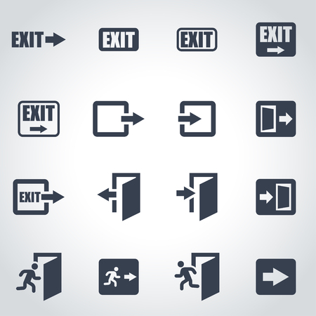 emergency exit sign icon: Vector black exit icon set on grey background