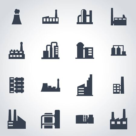 factory: Vector black factory icon set on grey background