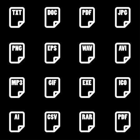 xls: Vector white file type icon set on black background Illustration
