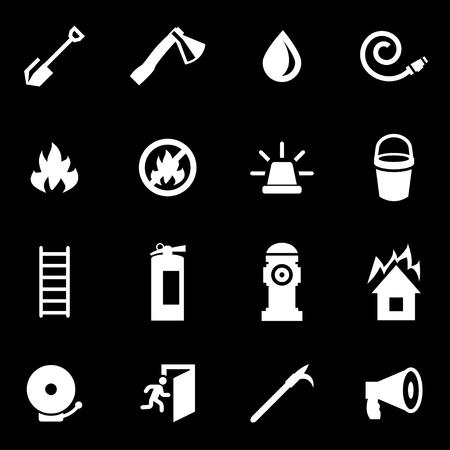 bombero: Vector icono de bombero conjunto blanco sobre fondo negro