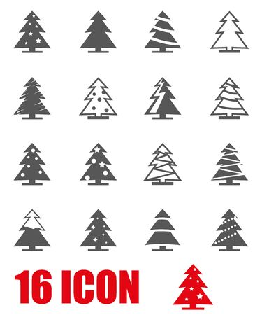 christmas tree: Vector grey christmas tree icon set on white background Illustration