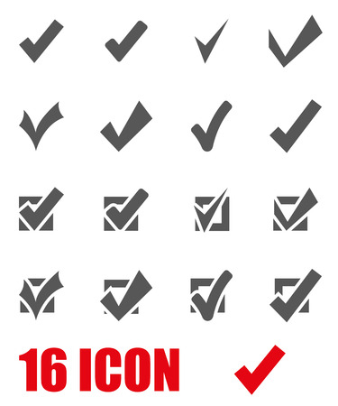 roman column: Vector grey confirm icon set on white background Illustration
