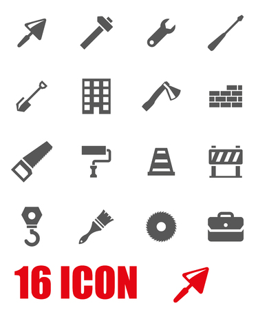 construction industry: Vector grey construction icon set on white background Illustration