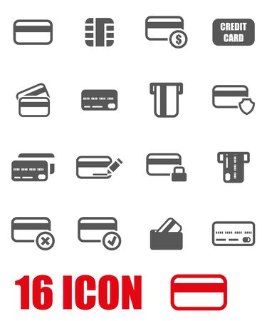 Vector grey credit card icon set on white background