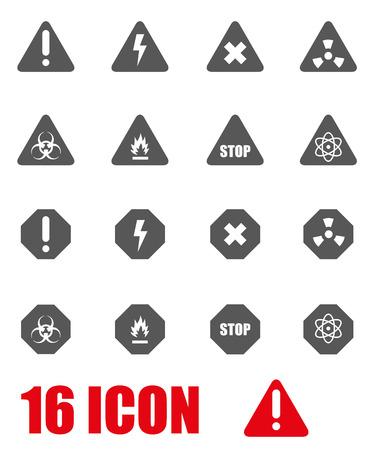 danger: Vector grey danger icon set on white background