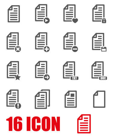 document icon: Vector grey documents  icon set on white background Illustration