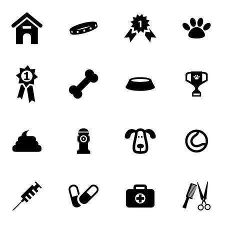 dog leash: Vector black dog  icon set on white background Illustration