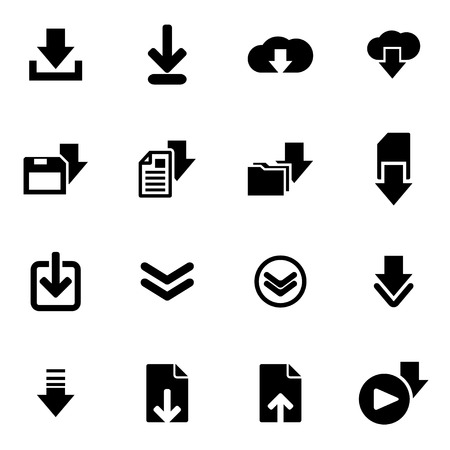 download button: Vector black download  icon set on white background