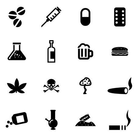 drogadiccion: Vector drogas negras conjunto de iconos en el fondo blanco