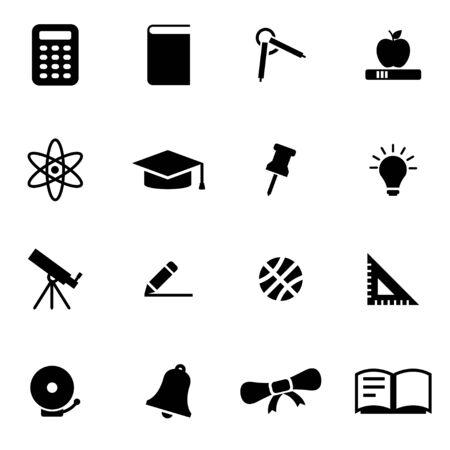 education: Vector black education icon set on white background
