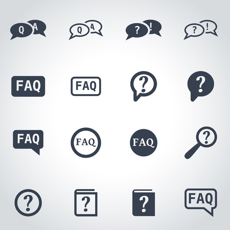 Vector black faq icon set on grey background Illustration