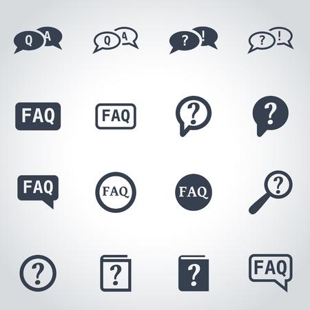 faq icon: Vector black faq icon set on grey background Illustration