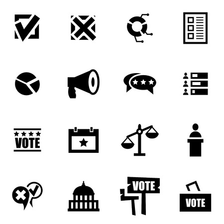 election: Vector black education icon set on white background