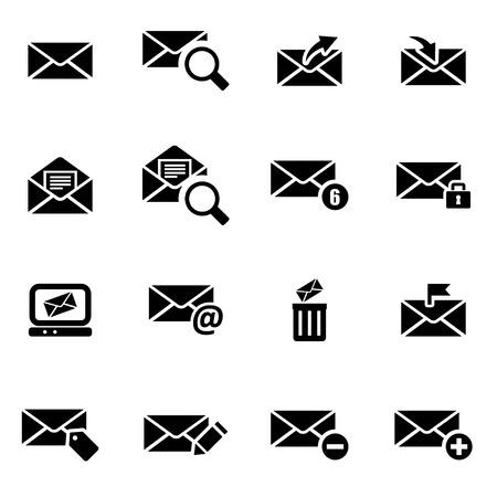 correo electronico: Vector icono de correo electrónico establecido negro sobre fondo blanco Vectores