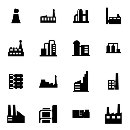 factory building: Vector black factory icon set on white background