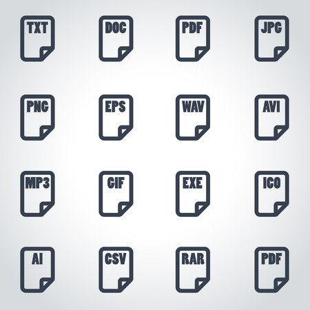 xls: Vector black file type icon set on grey background