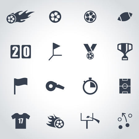 football referee: Vector black football icon set on grey background Illustration