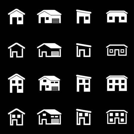 the white house: Vector white house icon set on black background
