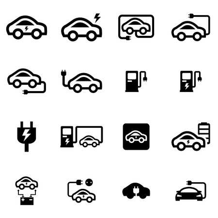 electric cars: Vector black electric car icon set on white background