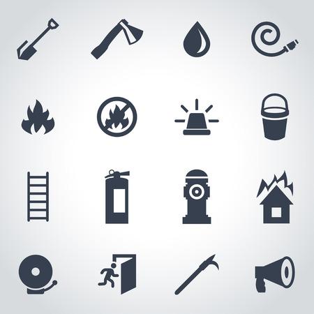 firefighter: Vector icono de bombero negro establece sobre fondo gris