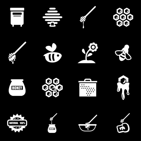 honey: Vector white honey icon set on black background Illustration
